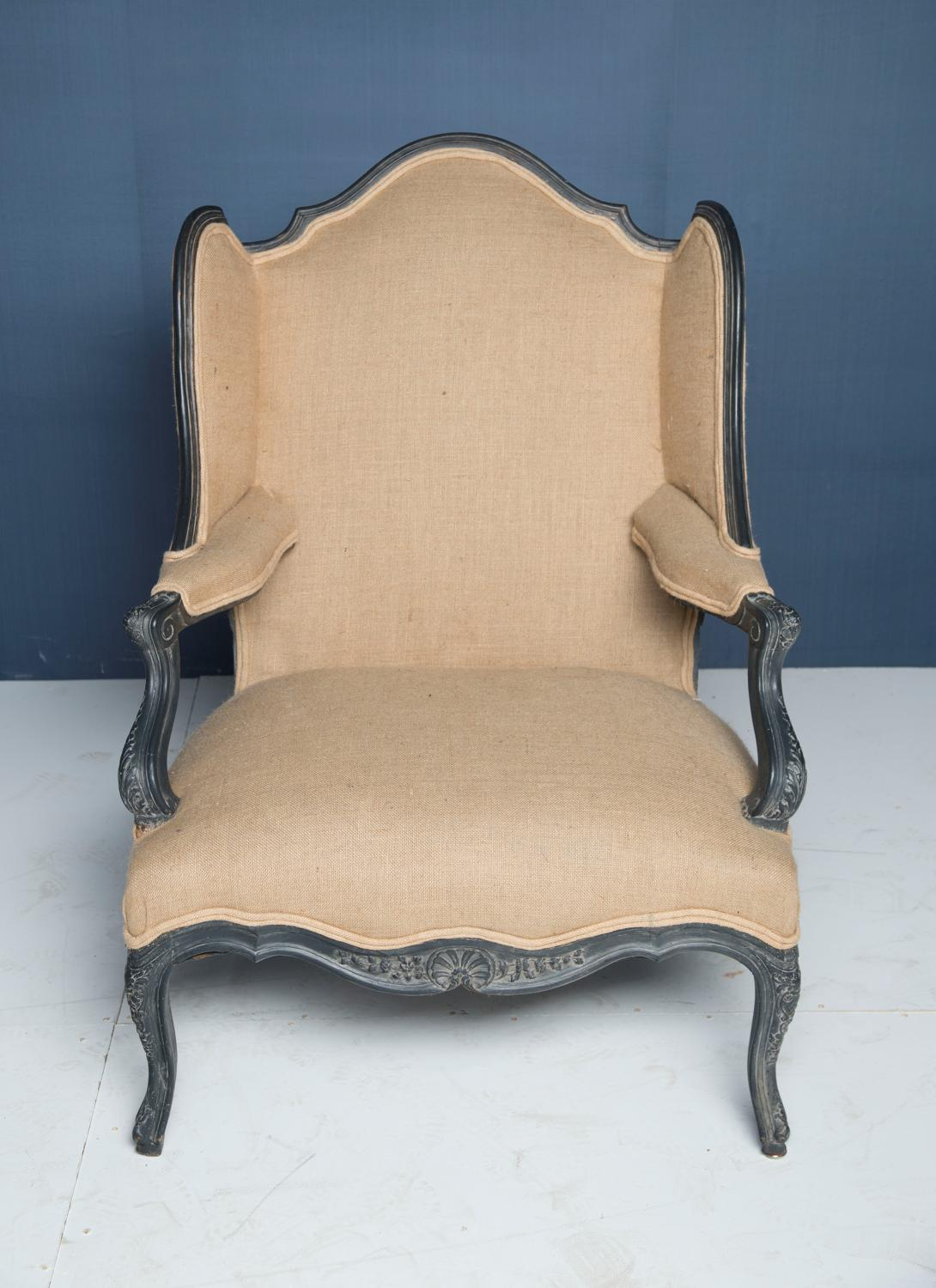 A 19thC wing back Bergere armchair