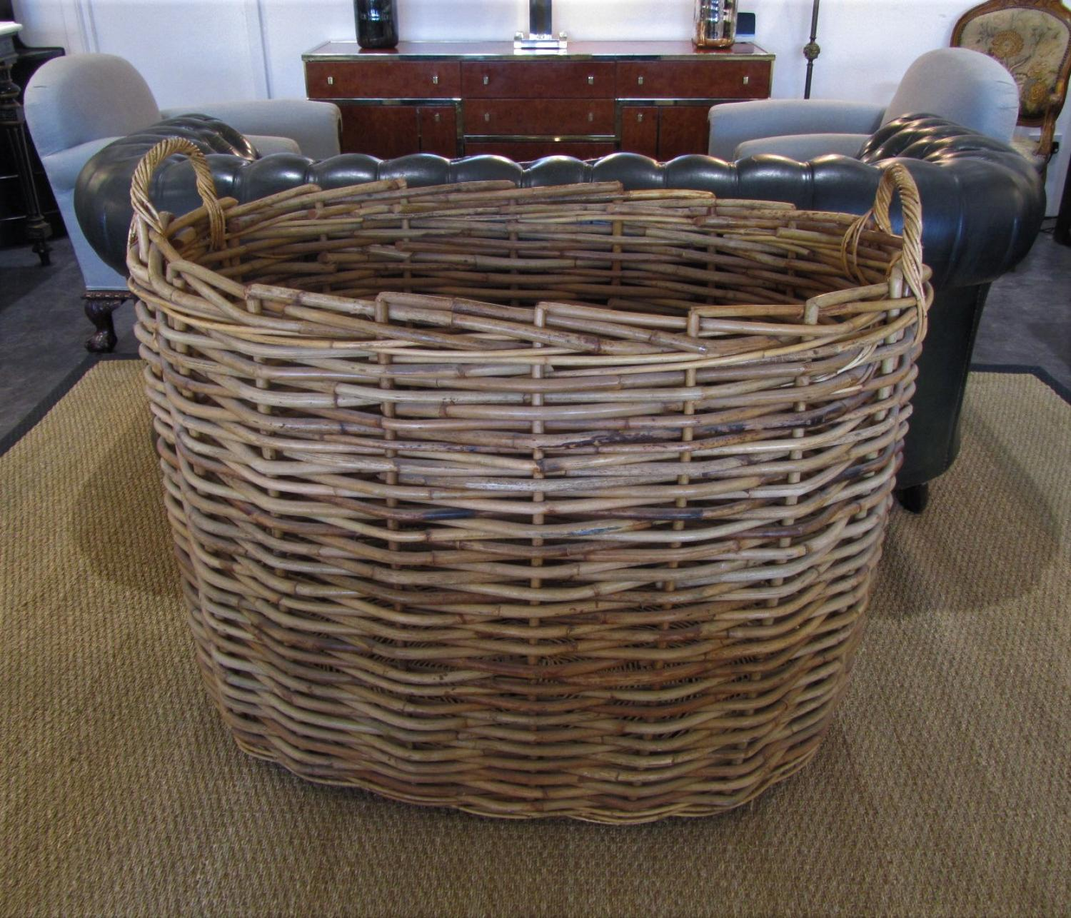 An Enormous wicker log basket