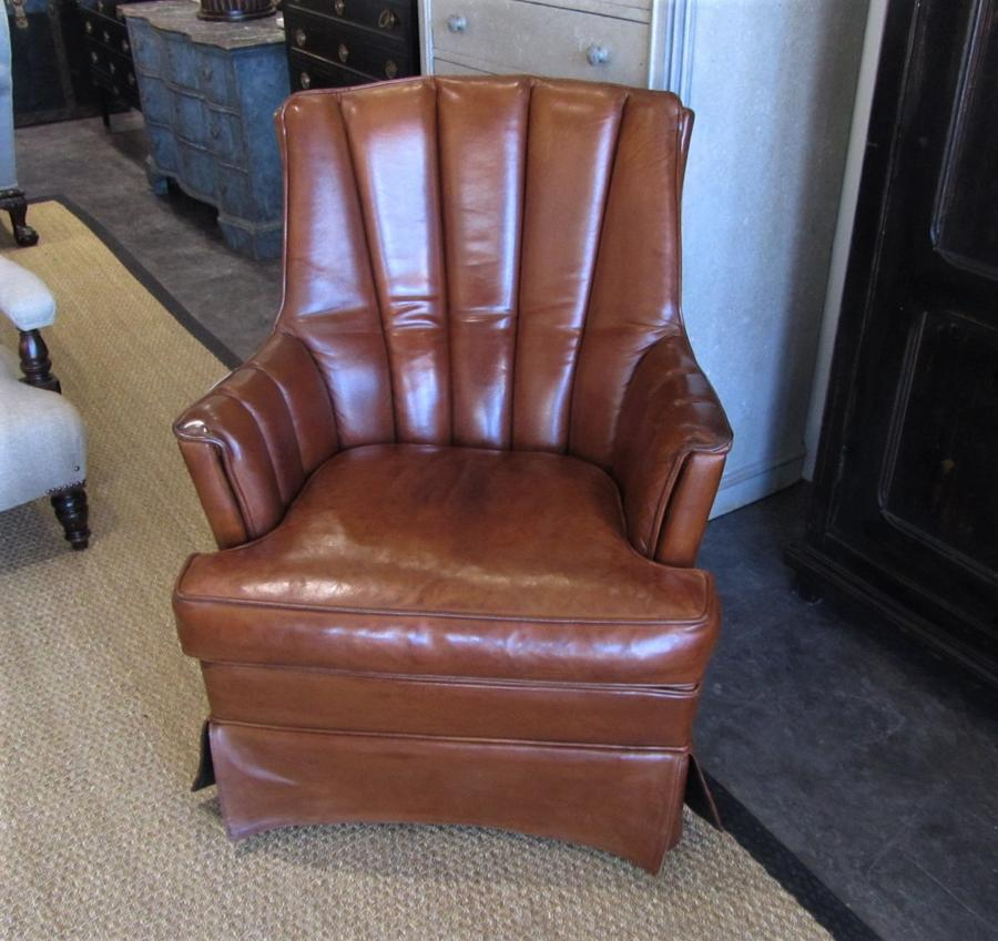 A French leather club reading chair