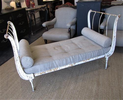 A 19thC cast iron daybed