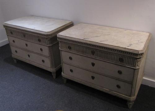 A large pair of painted Swedish commodes