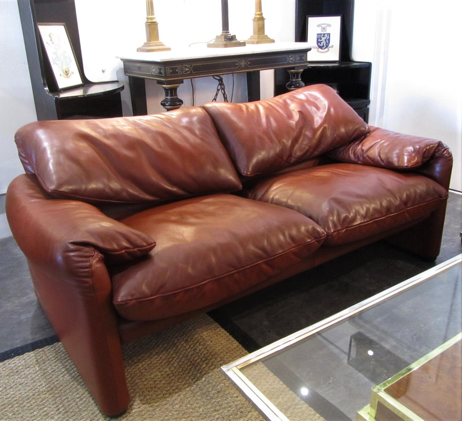 A 70's Maralunga Italian Leather two seater sofa