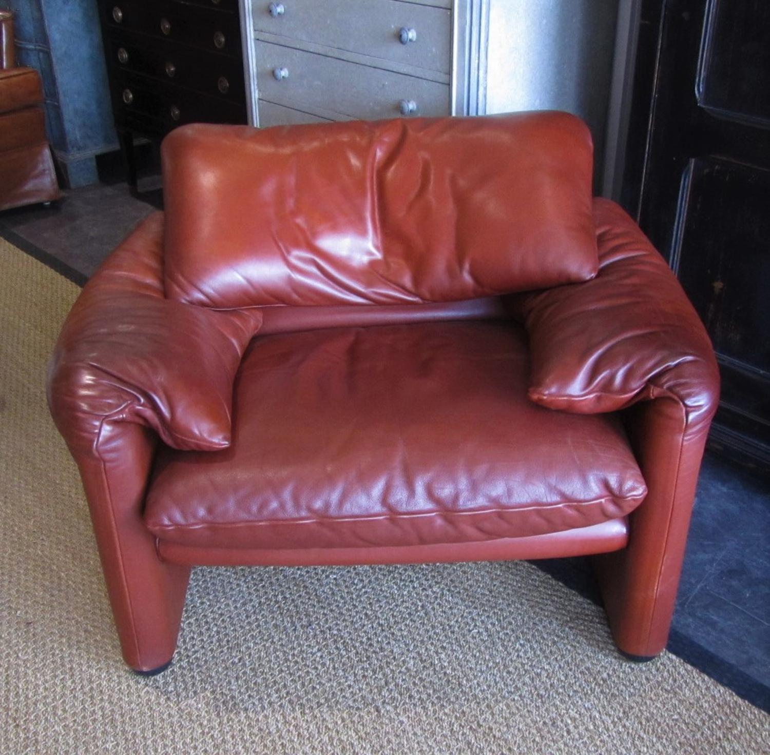 A 70's Maralunga 675 leather armchair