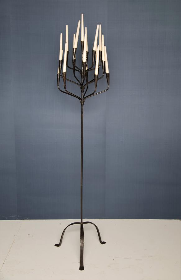 A Danish mid 20thC wrought iron candelabra