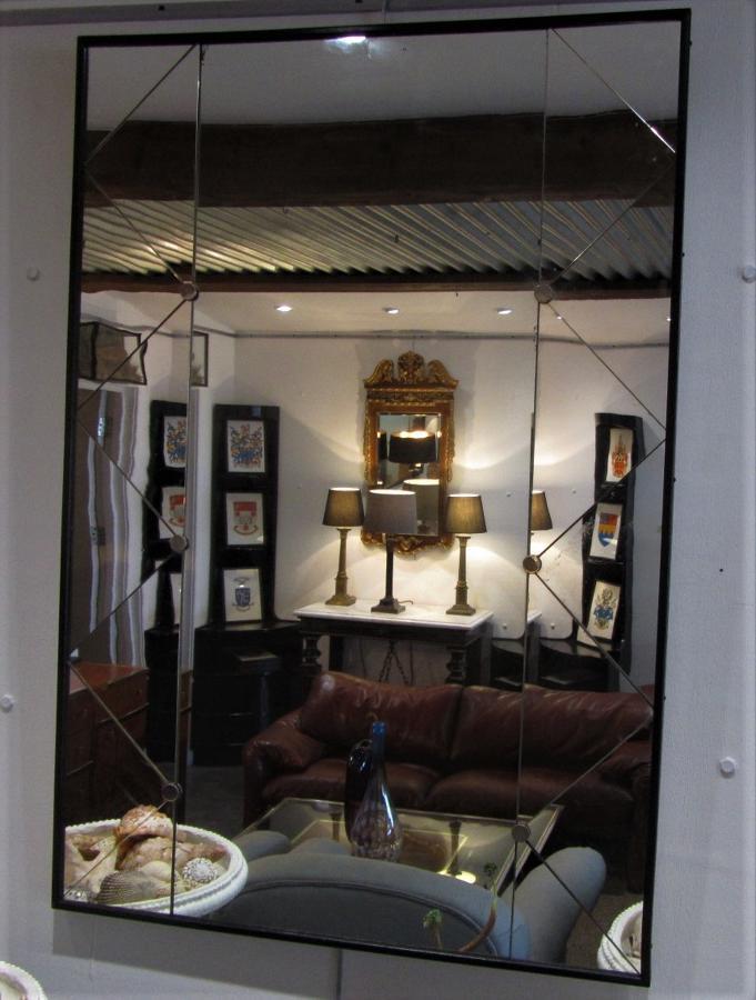 A Swedish trellis panelled mirror