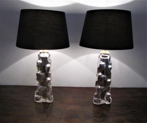 A pair of Swedish orrefors table lamps