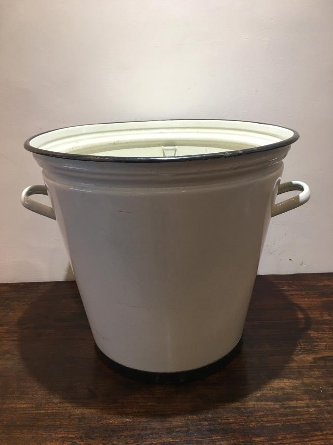 A large early 20thC Enamel Pail