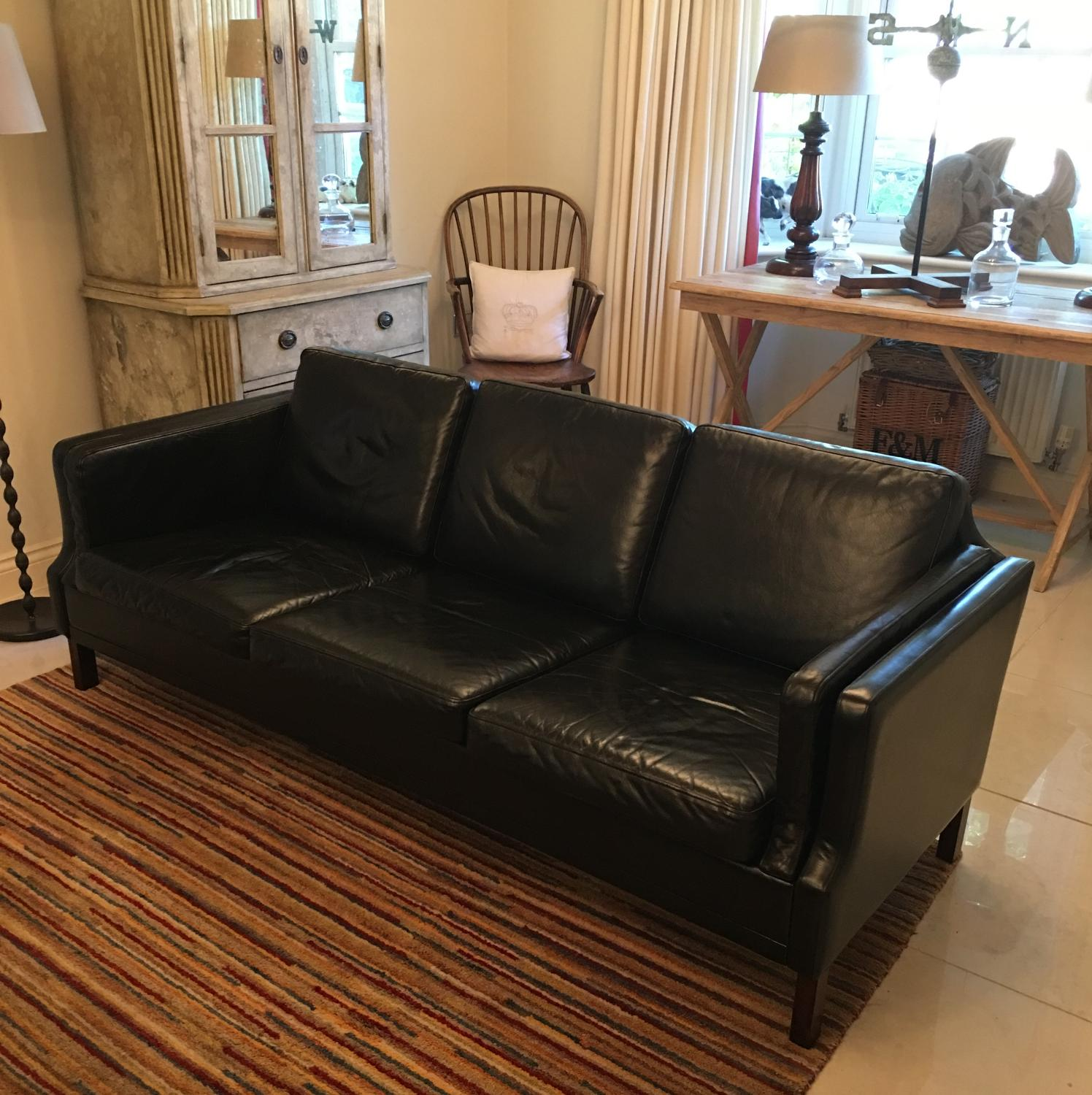 A Borge mogensen style 3 seat leather sofa