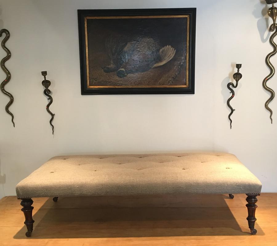 A late 19thC rectangular ottoman foot stool