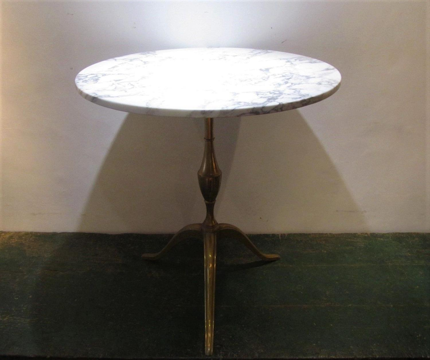 A brass and marble gueridon table