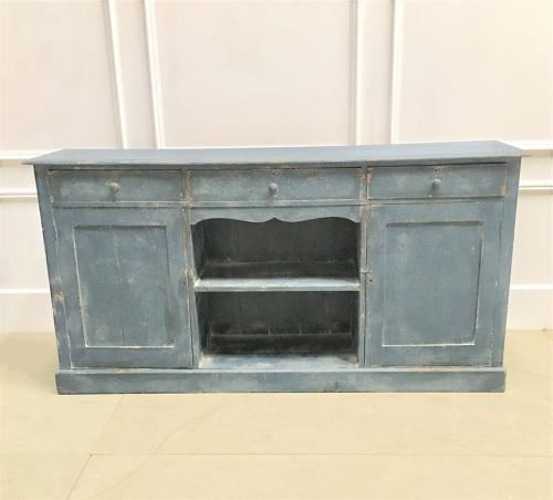 A 19thC painted pine dresser base