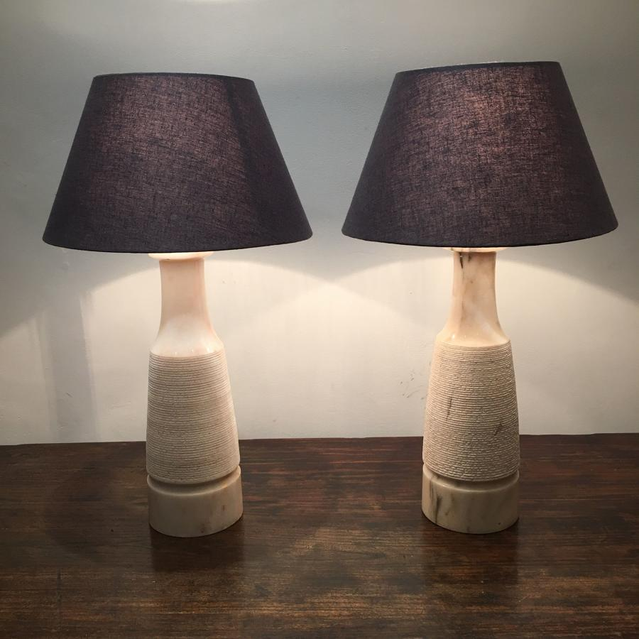 A pair of Marble Table Lamps