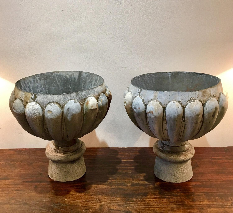 A pair of zinc rain hoppers