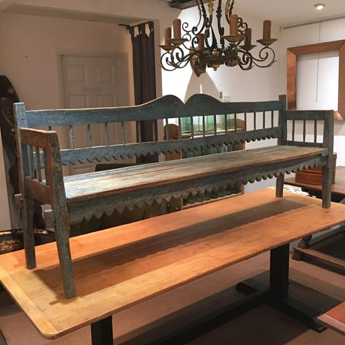 An 18thC painted hall bench