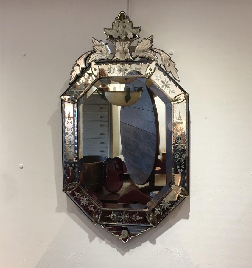 An octagonal Venetian Mirror