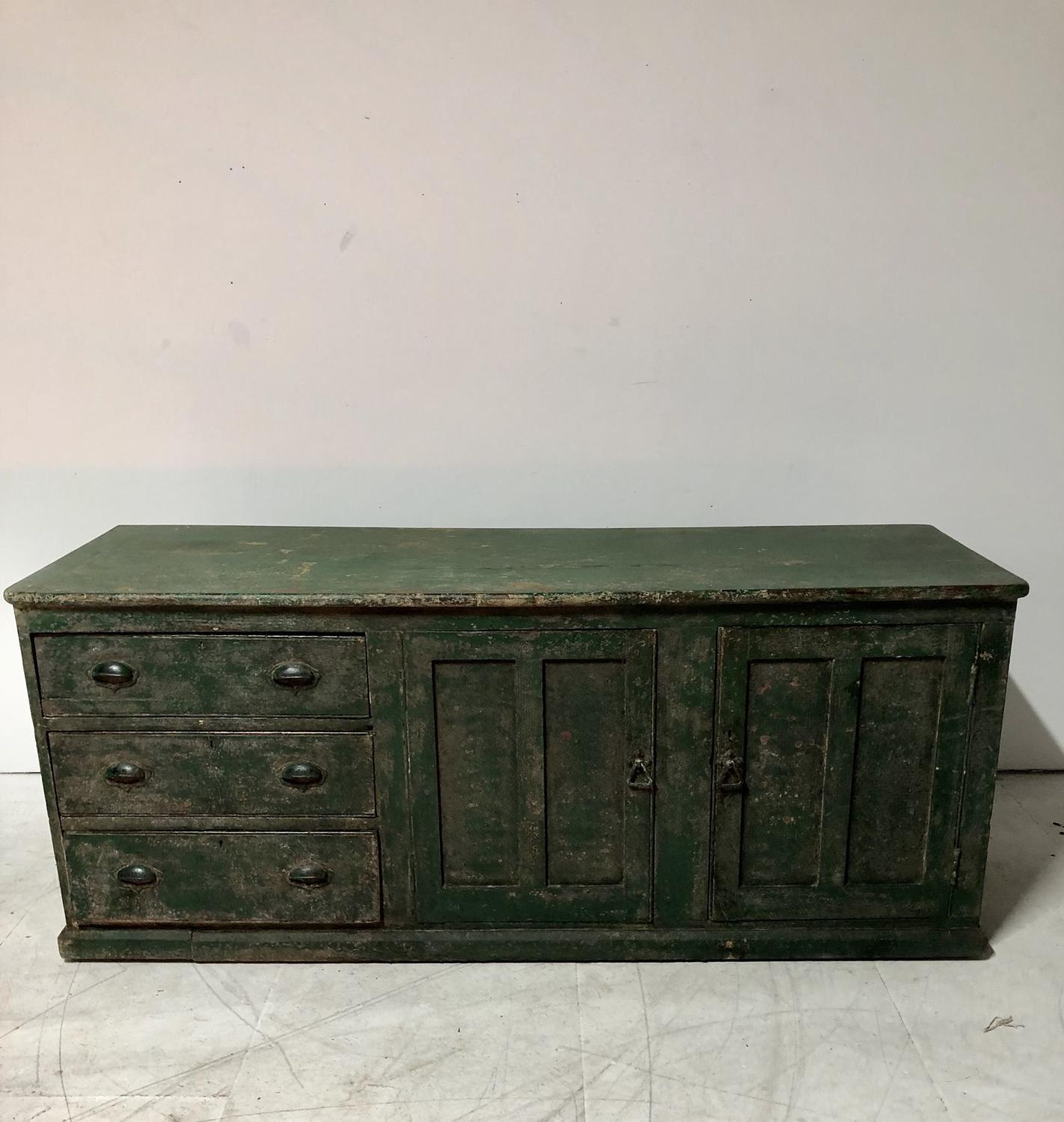A painted pine dresser base counter