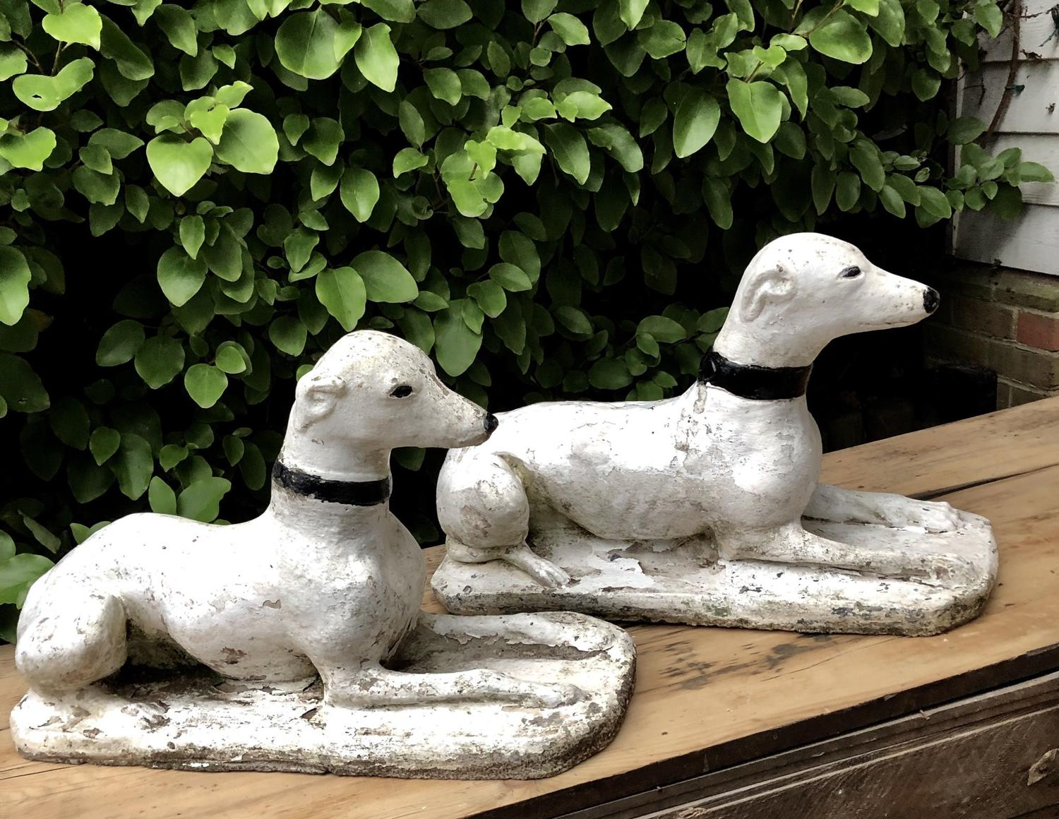 A pair of whippet figures