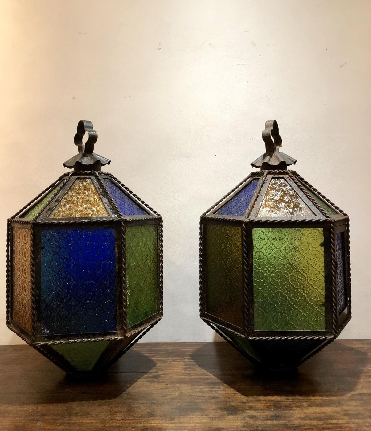 A pair of Grotto folly lanterns