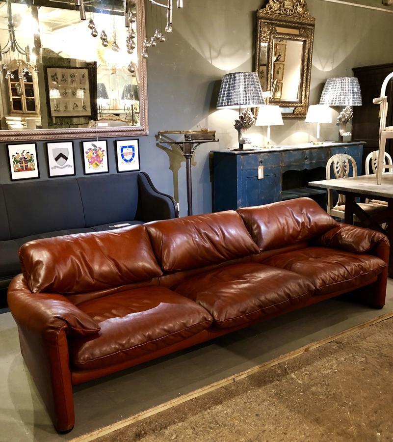 A 3 seat leather 675 Maralunga Sofa