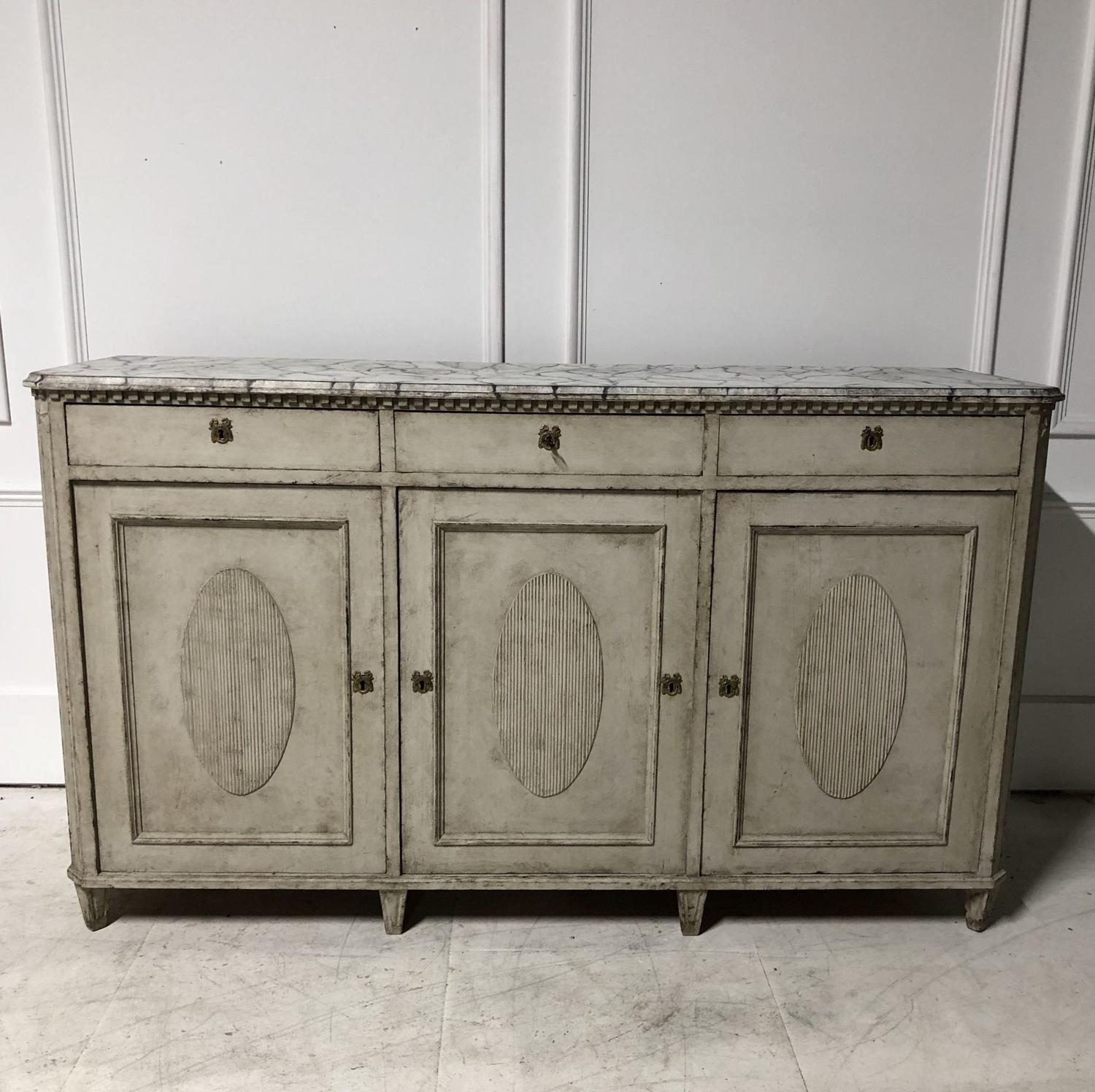 A Swedish Painted Sideboard