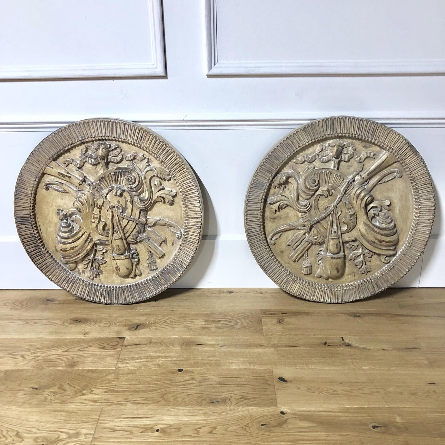 A large pair of Armorial Plaques