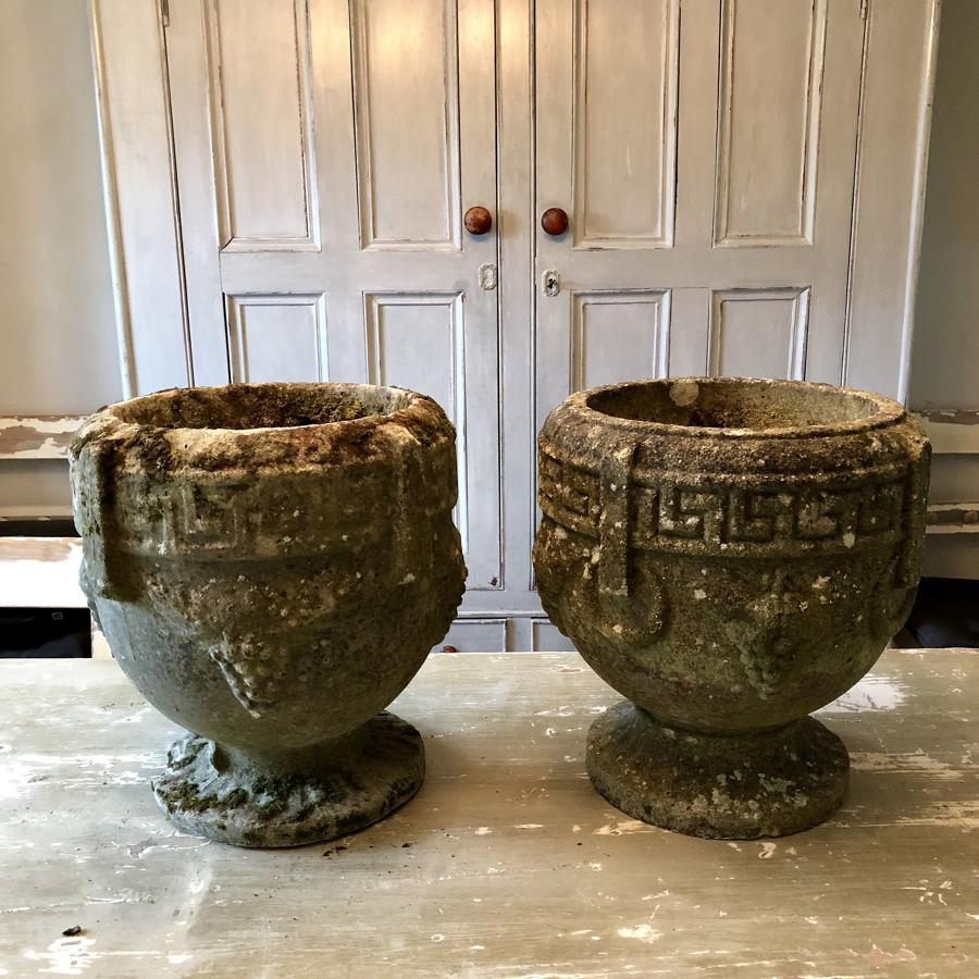 A pair of garden urns