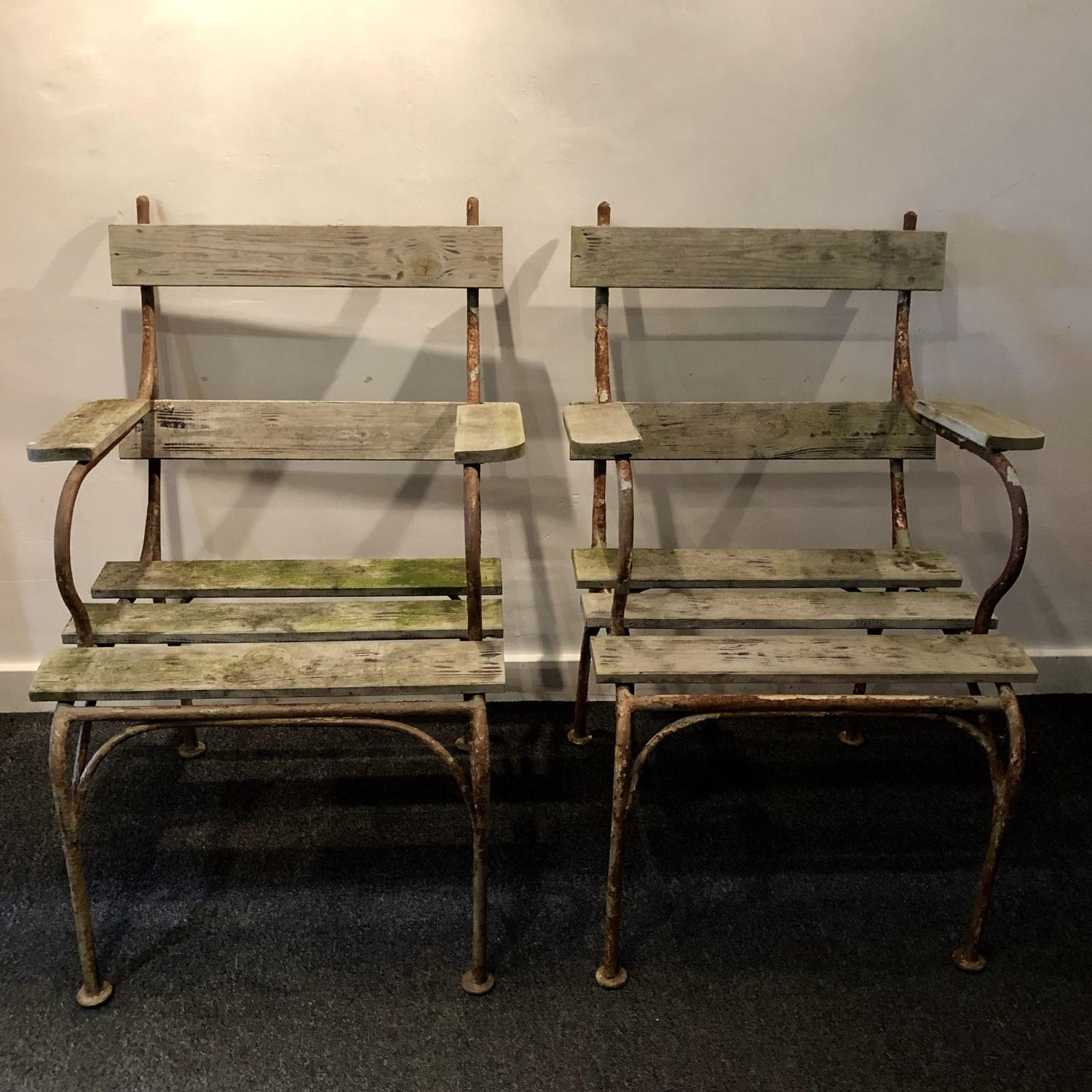 A pair of garden chairs