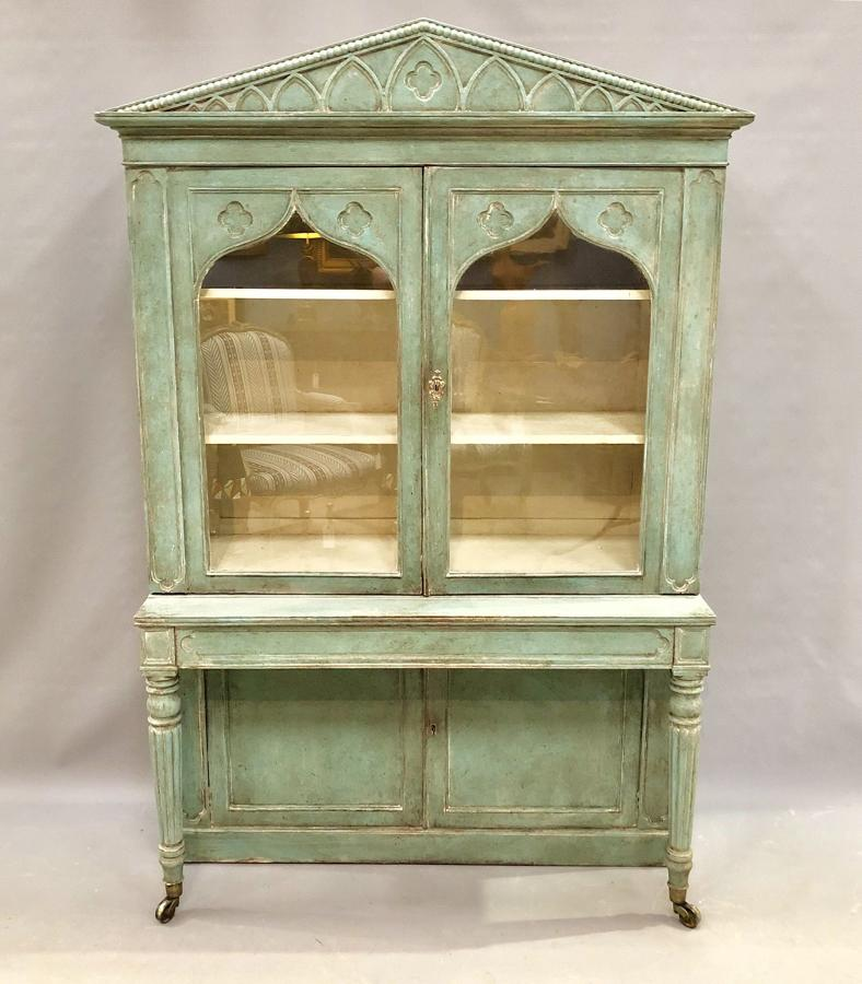 A painted Regency period Gothic cabinet