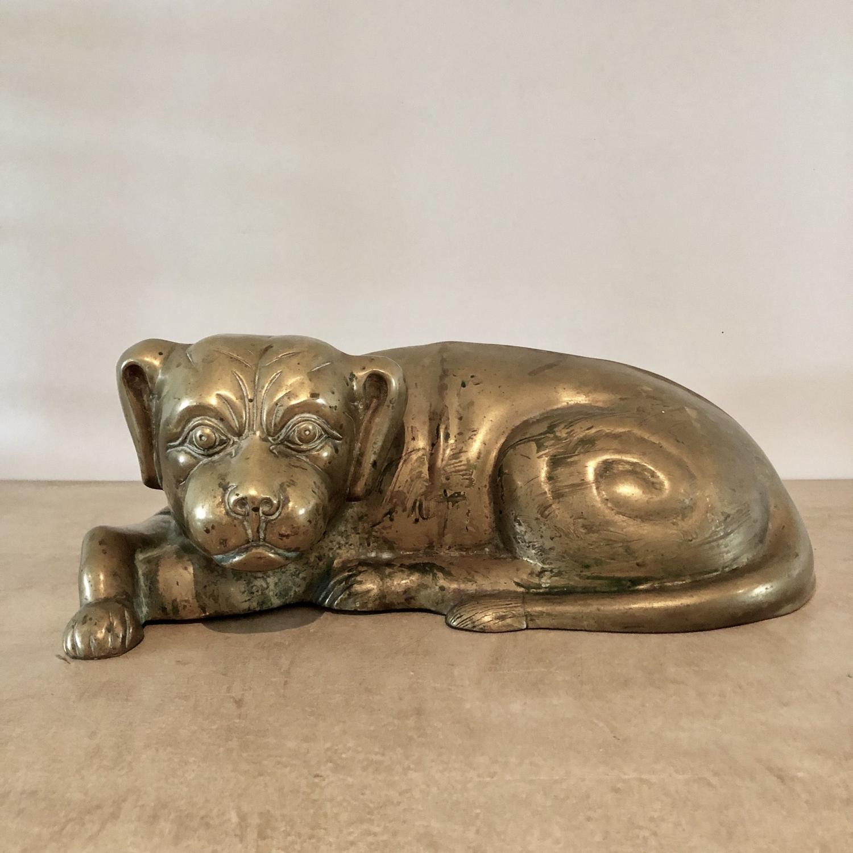 A 19thC cast brass Spaniel dog
