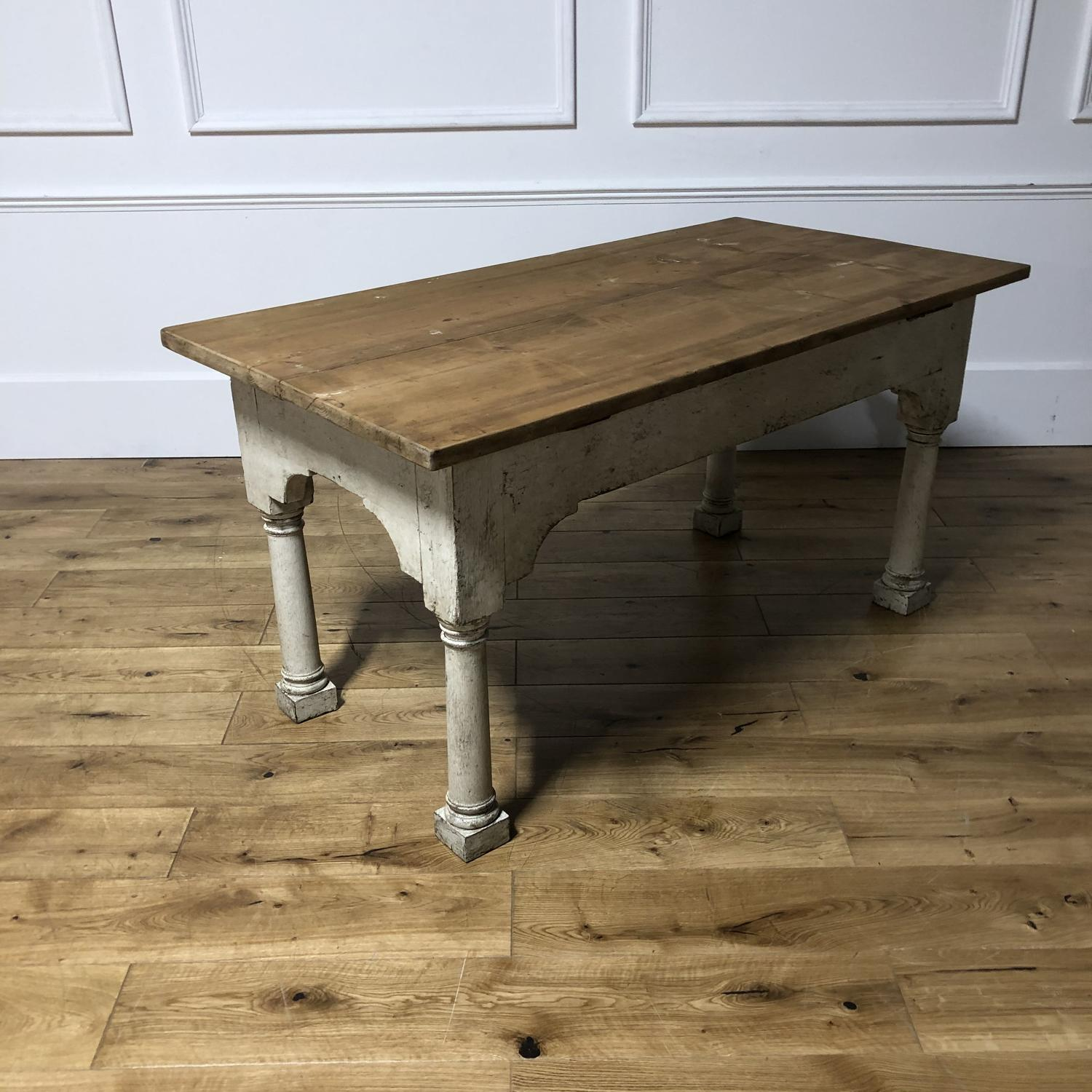A kitchen prep/serving table