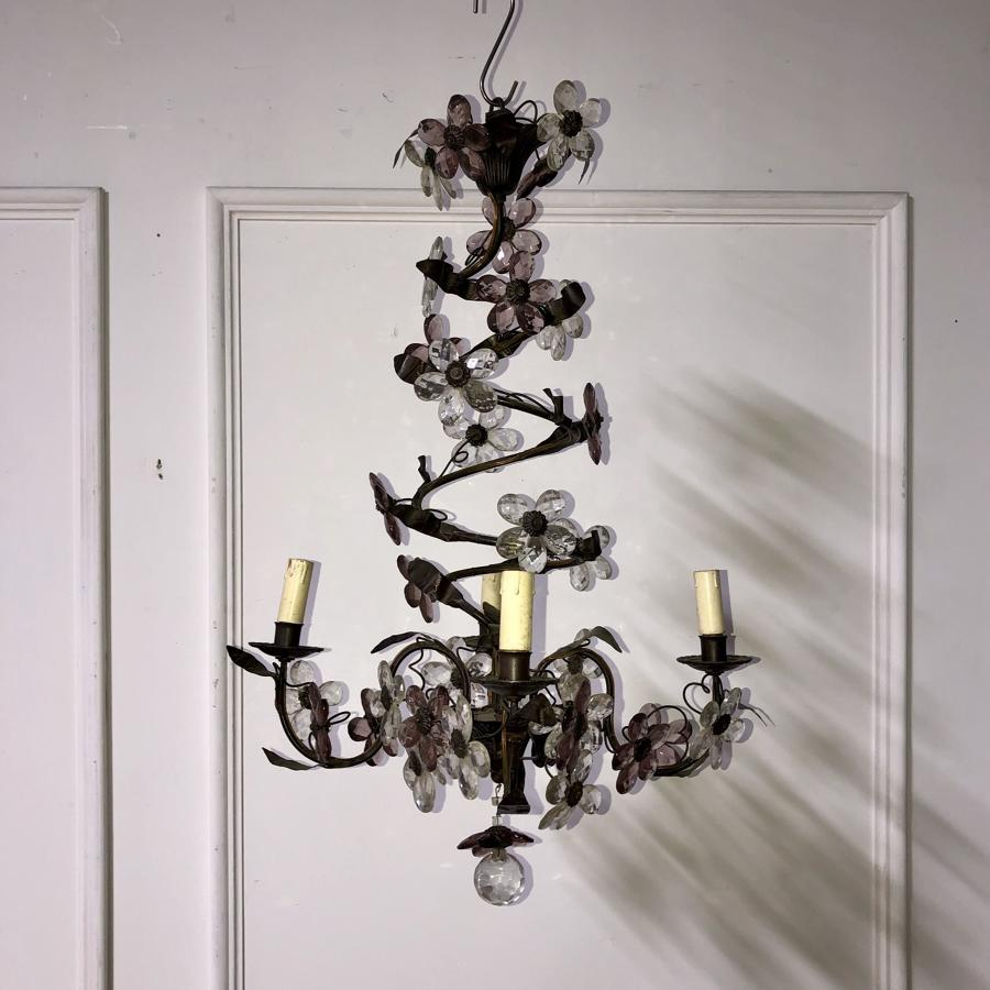A tole and glass chandelier
