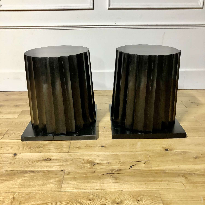 A pair of column pedestals
