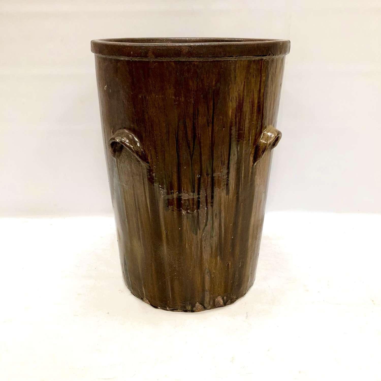 A large glazed salting pot