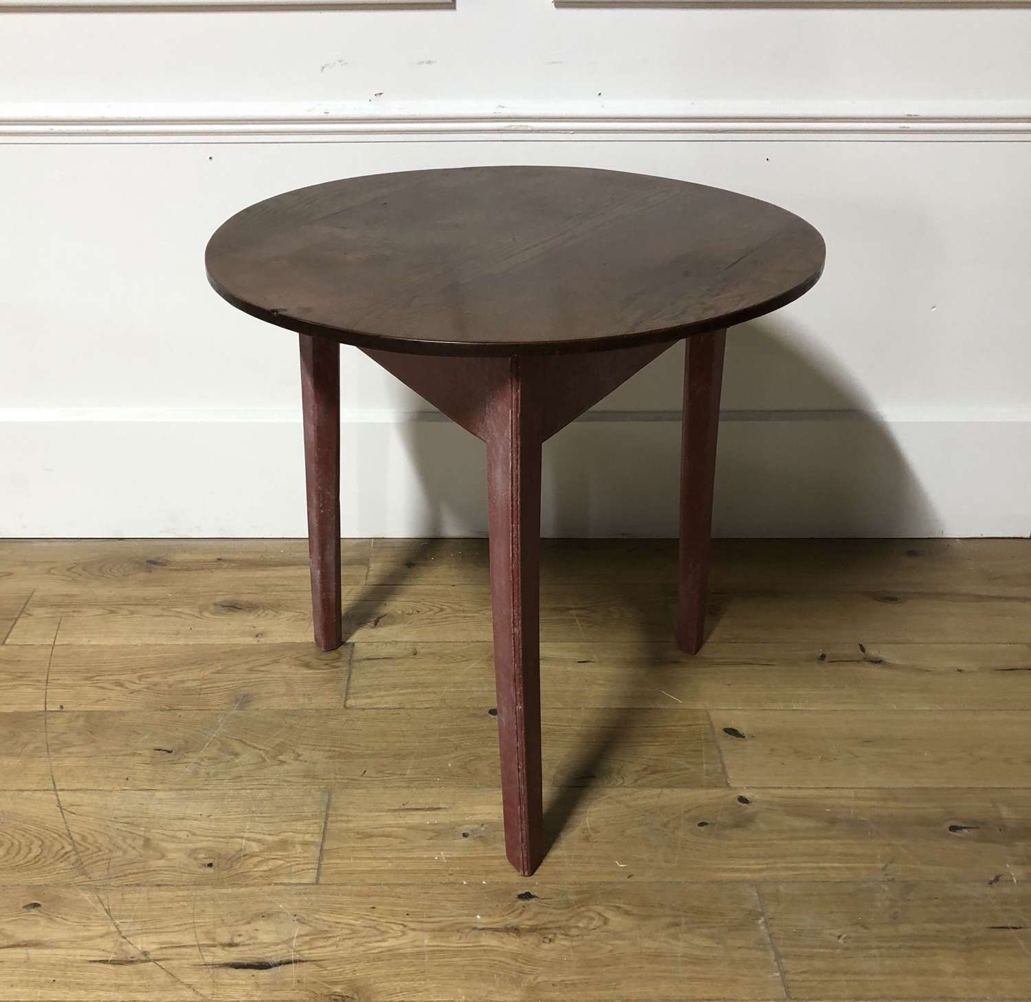 A painted Oak and Elm Cricket Table