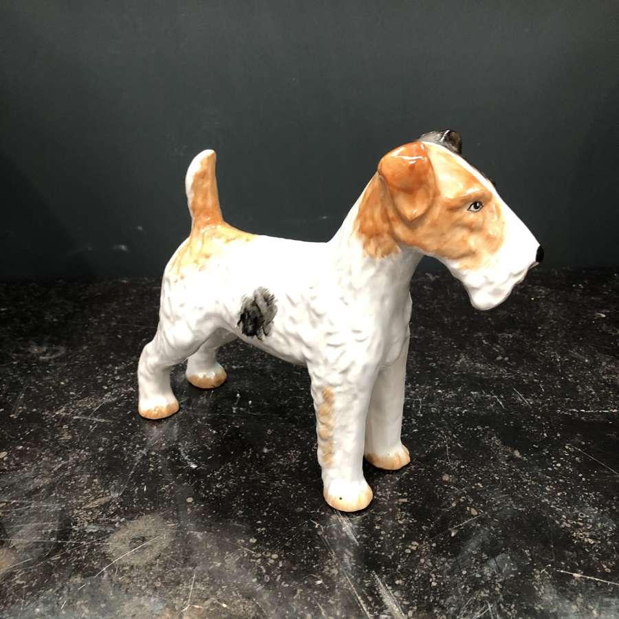 A ceramic fox terrier dog