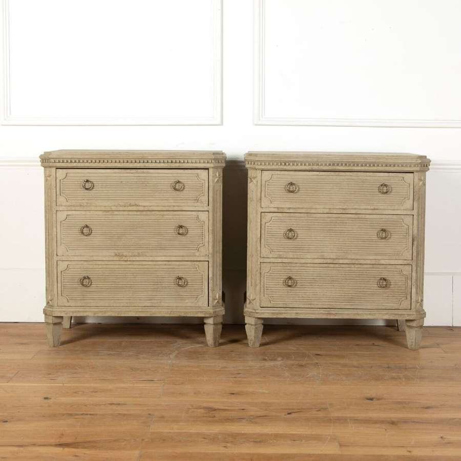 A Pair of Swedish reeded front commodes