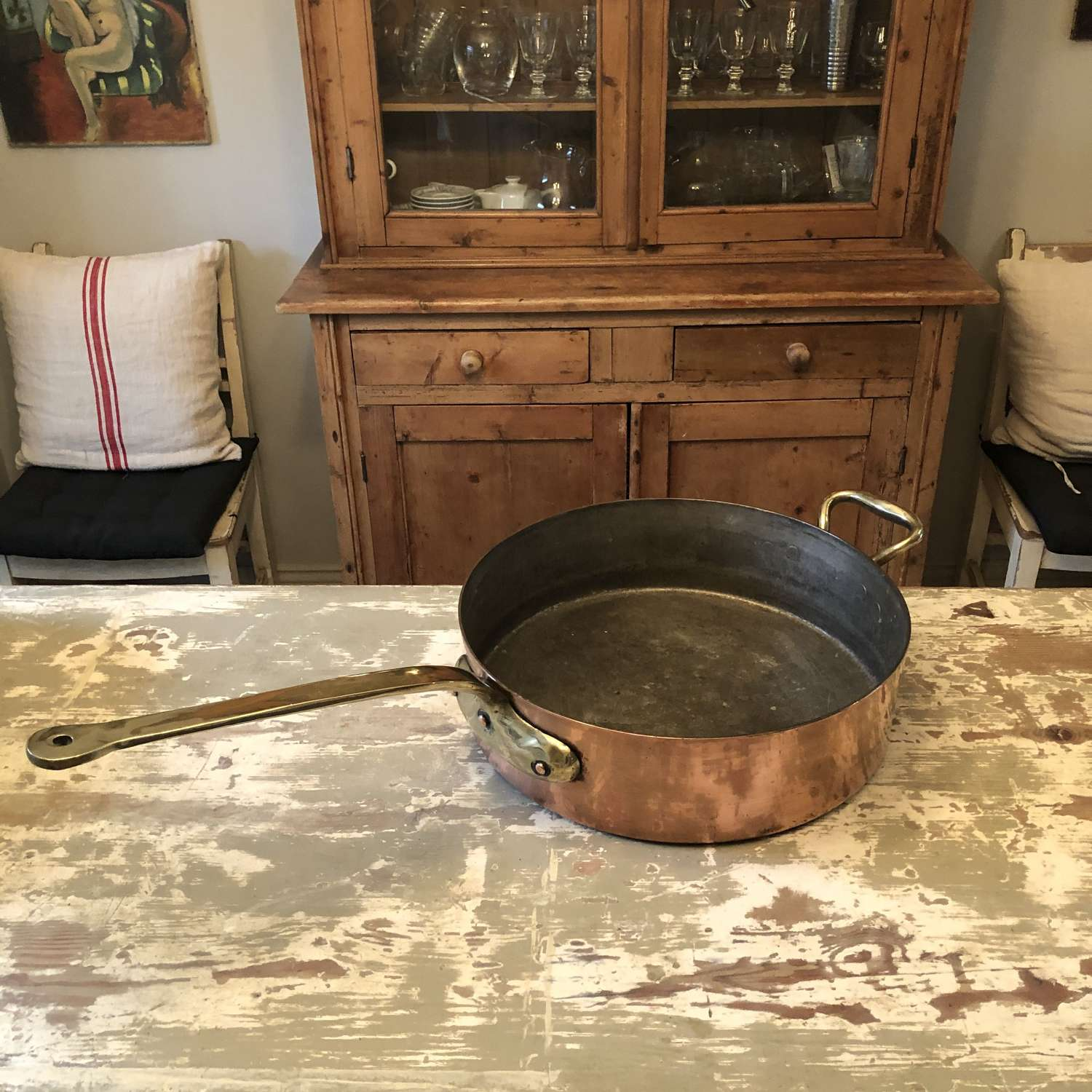 A very large copper kitchen pan