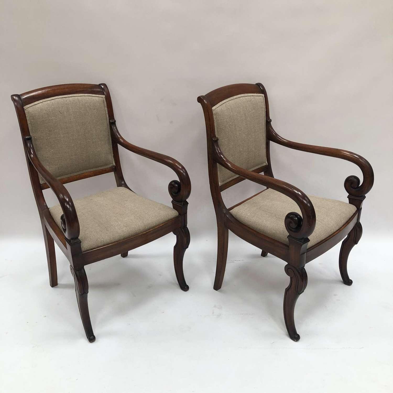 A pair of Mahogany armchairs