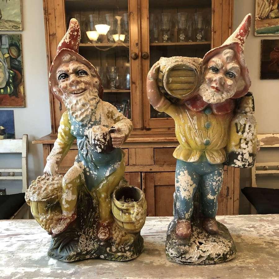 A pair of garden gnomes