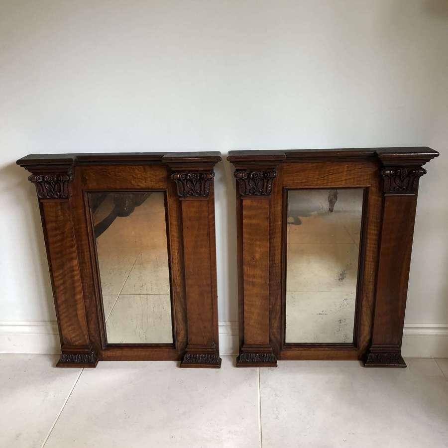A pair of Mahogany Mirrors